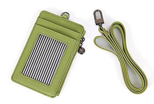 Genuine Leather Slim Bills & Credit Card Holder Id Card Case Holder Useful Purse with Neck Strap (Mint)