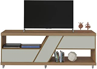 Artely Best TV Table for 60 inch TV, Pine Brown with Off White - W 180 cm x D 43.5 cm x H 66.5 cm