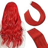Ugeat Extensiones de Pelo Natural Adhesivas 14 Pulgadas Seamless Skin Weft Extensiones Naturales Adhesivas Color Rojo Extensiones Invisible Hair Extensions Tape in Human Hair 25g 10pcs