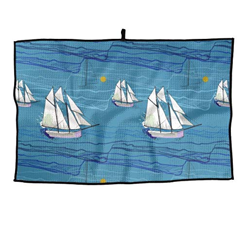 NVCBHk Sailboat Sea Wave Soft Comfortable Microfiber Golf Towel Ultra Compact Absorbent Sport Towel - for Yoga, Sport, Running, Gym, Workout,Camping, Fitness
