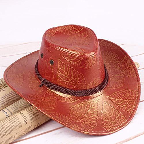 Western Cowboyhoeden Reishutsen Voor Dames Herenpetten Hoeden Lederen Ridderhoed Hoeden Zonnebrandcrème Vilt Jazz-Pet Bot Cowboys-Pet Heren, Rood, One Size
