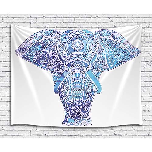 JAWO Bohemian Mandala Wild Animals Hippie Elefant Tapisserie + Duschvorhang + Badteppich + Küchen-Vorhänge 71
