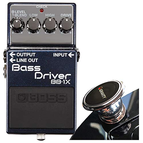 Boss BB-1X Bass Driver Pedal Bass Overdrive/Distortion Effects Pedal with Blend Control, Dual Outputs, and Adaptive Distortion with EMB Magnet Phone Holder Bundle
