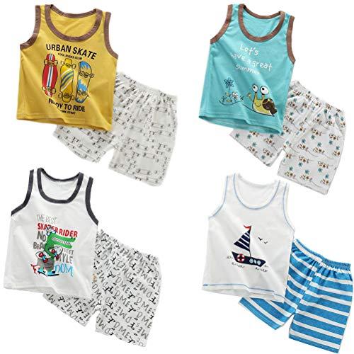 XM-Amigo 8 Paquetes de Chalecos sin Mangas sin Mangas para bebés, Camisetas sin Mangas Suaves, Pantalones Cortos, Conjuntos de Ropa, Edad 18-24 Meses (Altura Recomendada del niño:80-90 cm)