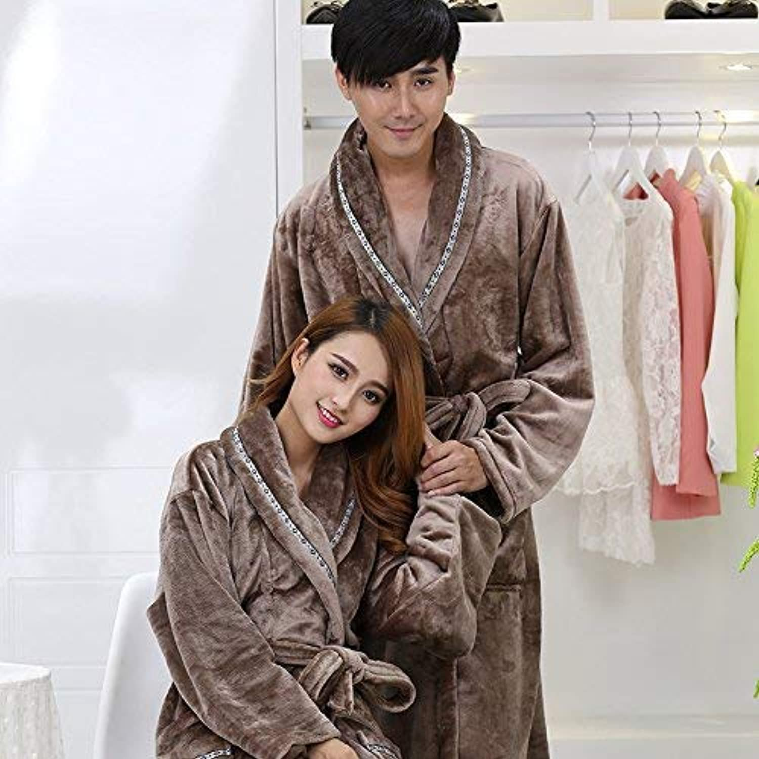 DALAI Autumn and Winter Models Warm Couple Flannel Robe Bathrobe Men and Women Bathrobes Conjoined Couple Coral Fleece Pajamas (color   Grey, Size   M) (color   Grey, Size   Medium)