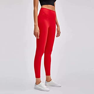 Yoga Pants Women High Waist Tight Elastic Running Fitness Pants,Red(6)
