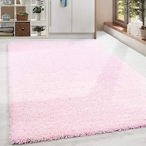 HomebyHome - Tappeto a pelo lungo Shaggy, tinta unita, per soggiorno, rosa, rotondo, rettangolare, quadrato, certificato Oeke Tex, 17 misure