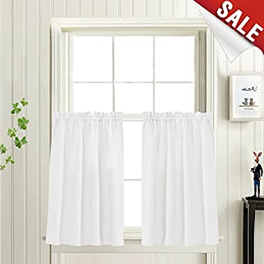Waffle Woven Textured Short Curtains for Bathroom Water Repellent Window Covering for Kitchen (72  x 24 , White, Set of Two)
