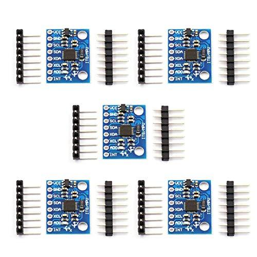 ZHITING 5Pack GY-521 Modulo MPU-6050 6 DOF Modulo sensore giroscopio accelerometro a 3 Assi Modulo convertitore AD 16 Bit Uscita Dati IIC I2C Compatibile per Arduin