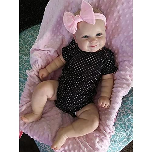 Lisanl 19'' Baby Girl Doll Reborns Realistic Doll Infant Gift Interactive Soft Caucasian Doll with Hair Dress Blue/Brown Eyes reborn baby girl dolls clothes for newborn silicone full body eyes open