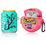 [2Pack] Cute Airpod Case for Airpod 2/1,3D Cartoon Kawaii Food Bubble Gum & Drink Airpods Cover Design Girl Boys Teens Fashion Fun Shockproof Protective Skin Accessories Silicone Case for Airpods 1&2