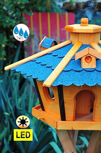 Vogelhaus Massivholz,Massiv-WETTERFEST, mit Beleuchtung,Solar-LED mit Silo/Futtersilo für Winterfütterung,Gartendeko Vogelhäuschen, mit Silo / Futtersilo für Winterfütterung -Holz Nistkästen & Vogelhäuser- Futterhaus ohne Ständer blaue Dachschindeln BRL45blOS Bitumen - 2