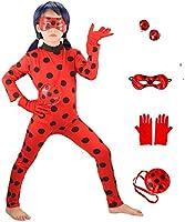 HuangWeida Bambini Costume Parrucca Impostato Ragazze Carnevale Costumi Halloween Festa Coccinella Cosplay Regalo di...