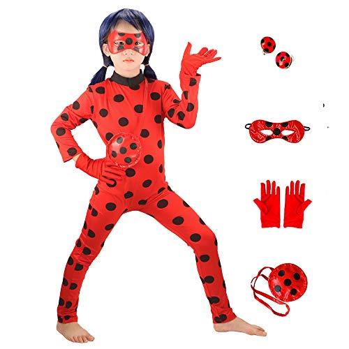 GREAHWD Kostüme Mädchen Marienkäfer Kostüm Kinder Halloween Karneval Overall Party Cosplay Kostüme für Kinder, Augenmaske, Handschuhe Ohrringe, Taschen