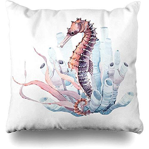 Gooi kussenslopen blauwe vis aquarel zeepaardje perfecte zee koraal paard zeewier oceaan huisdecoratie kussensloop kussensloop