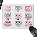 Pink and Grey Smooth Mouse pad Surface Cute Owl Figures Nocturnal Exotic Mystic Forest Night Animals Illustration Non-Slip Rectangular Mouse pad W15.7 x L35.4 x H1.2 Inch Blush Grey