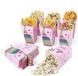 Maojuee 40 Pcs Sirena Caja de Palomitas Caja de Pop Corn Box Palomitas Bolsa para Fiestas Envases de Caramelos de Cartón, Contenedores para el Regalo de Boda de Cumpleaños