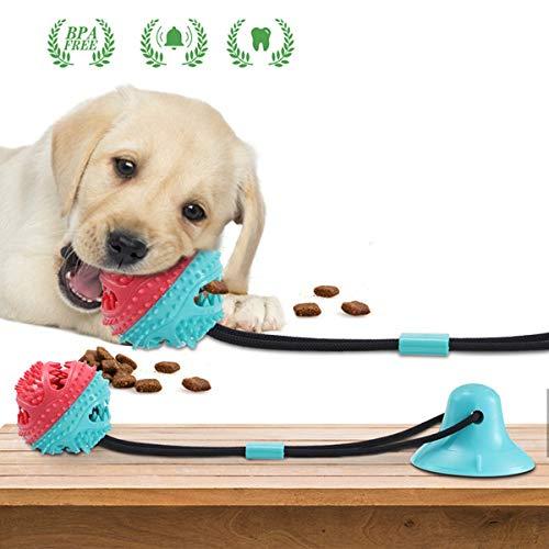 Charminer Hundespielzeug mit Saugnapf, Multifunktions Pet Spielzeug, Hunde Molar mit Saugnapf Kauseil Ball Spielzeug Hund Zahnbürste Spielzeug Chew Spielzeug für Hund Ziehen, Kauen, Spielen Blau