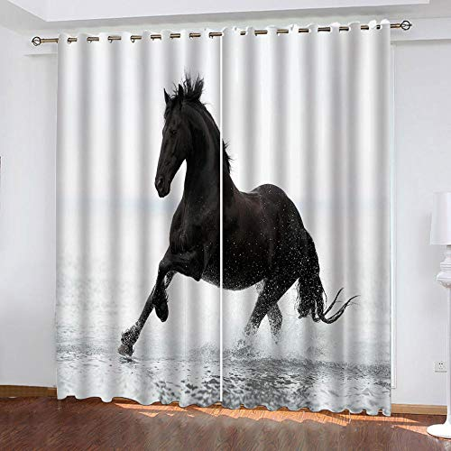 MENGBB Blackout Curtain for Kids Girls Microfiber 90x71 inch Black animal horse in water Thermal Insulated 95% Blackout Kitchen Bedroom Living Room Window Eyelet Curtains
