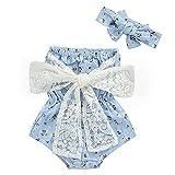 L&ieserram Florali - Ropa de niña con estampado de flores, pequeño juego de 2 diademas + pelele de manga corta con encaje con gran lazo de encaje turquesa 0- 6 Meses