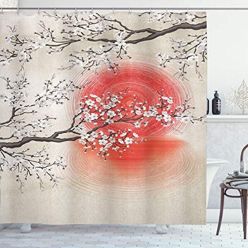 Ambesonne Cherry Blossom Shower Curtain, Japanese Folkloric Themed