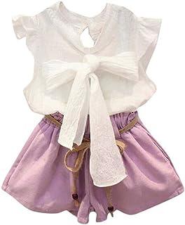 V-A-O-L Conjunto de 2 Piezas de Ropa de Verano para niñas, Chaleco con moño y Camisa + Pantalones Cortos