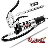 Bravex Grease Gun, Heavy Duty Pistol Grip Grease Gun Set 14oz with 18 Inch Flex Hose,6000 PSI