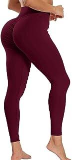 JUNMOUYI Women Butt Lifting Leggings Sexy Scrunch Anti Cellulite Yoga Pants High Waist Workout Tummy Control Tights