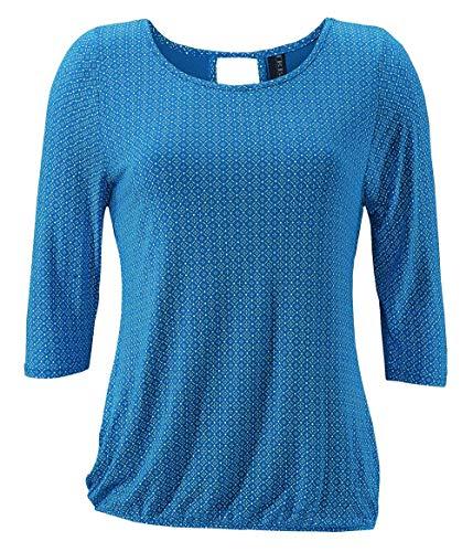 TrendiMax Damen T-Shirt Kurzarm Blusen Shirt mit Allover-Minimal Print Lose Stretch Casual Oberteil Basic Tops