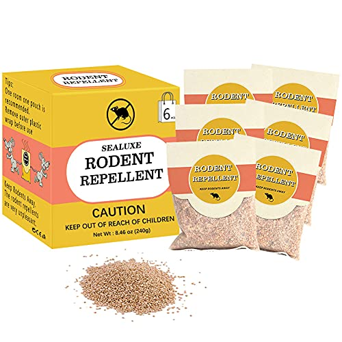 SEALUXE Rodent Repellent Packs, Pack of 6 Rat Repellent Granules, Mouse Repellent, Mint Mice Repellent, Peppermint Oil to Repel Mice and Rats