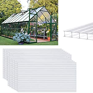 AUFUN 14 x planchas alveolares de cámaras huecas de policarbonato de 4 mm 10,25 m², placas de invernadero de 60,5 x 121 cm, placas de doble puente para jardín, garajes, resistentes a rayos UV