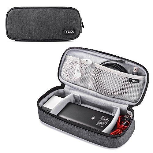 TYCKA Organizador de Cables de Viaje, Accesorios de electrónica portátil Estuches para Discos Duros con Dos divisores de Velcro Ajustables para Cables, USB, Tarjetas SD, Cargadores, Gris Oscuro