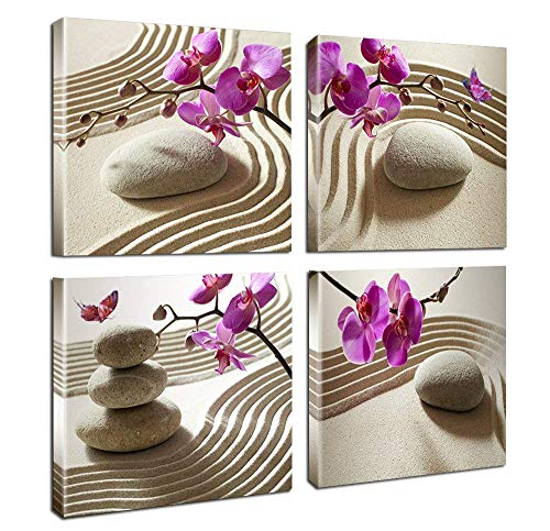 Home Art Deco - Purple Orchid Art Style Canvas Wall Art SPA Massage Stone Frame Stretch Ready to Hang Bathroom Decor 16 x 16 Panel 4 Piece Set