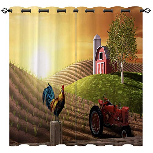 EiiChuang Farm Curtains, Nature Farm Barn Yard Rising Sun Rooster Retro Red Truck Print Waterproof Semi Blackout Curtains, Grommet Window Drapes for Kitchen Cafe Decor, 2 Panel 27.5 x 39 Inch