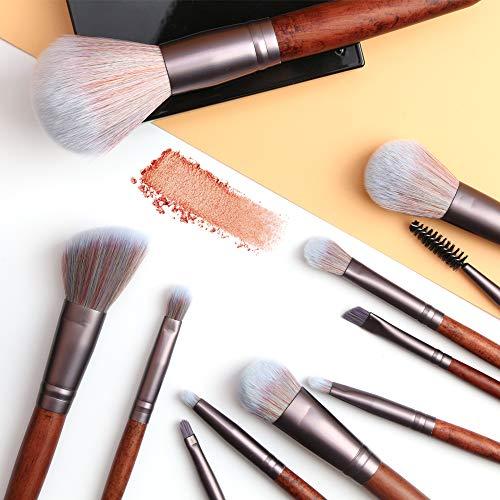 OLOOYA Lot de 11 pinceaux de maquillage en bois pour fond de teint, poudre, fard à paupières, fard à lèvres, mélange de pinceaux de maquillage