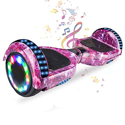 HST 6,5 Zoll Hoverboard Self-Balancing Scooters Elektroroller mit Bluetooth und LED-Beleuchtung, Offroad Waveboard für Kinder und Erwachsene (Rosa Himmel)