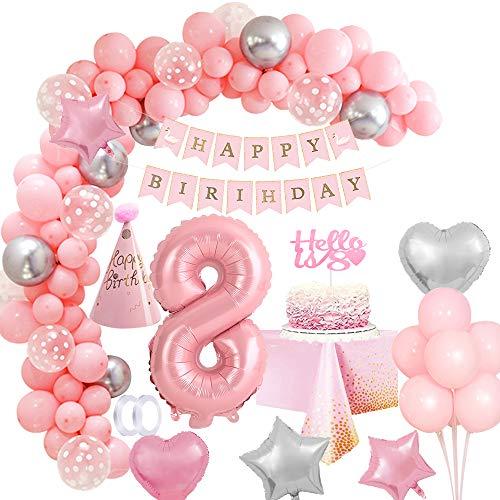 MMTX Geburtstagsdeko Mädchen 8 Jahr Rosa Geburtstag Party Deko, XXL Folienballons 8, Mädchen Geburtstag Dekoration, Happy Birthday Girlande Luftballon Torten Topper Tischdecke, Birthday Decorations