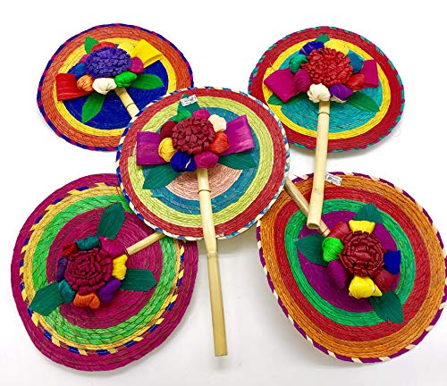 El Cora Productos Hand Held Palm Fans with Corn Husk Flower in The Middle | Abanico De Mano Hecho de Palma Con Flor De Hoja De Maiz (12, Multi-Colors)