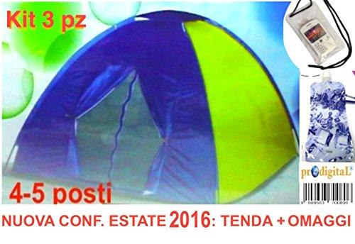 TENDA IGLOO Stile Canadese Da 4-5 POSTI (Persone) Ideale Per CAMPEGGIO MARE VIAGGIO CAMPING SPIAGGIA Misura 200X200X150 Cm + 2 Omaggi PrOdigitaL
