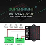 Trasformatore 24V 12V SUPERNIGHT Power Supply Transformer DC DC Step Down Voltage Reducer 12V~24V to DC 5V 10A 50W dc Buck Converter Adjustable for LED displays, Automotive, Electricity ect.