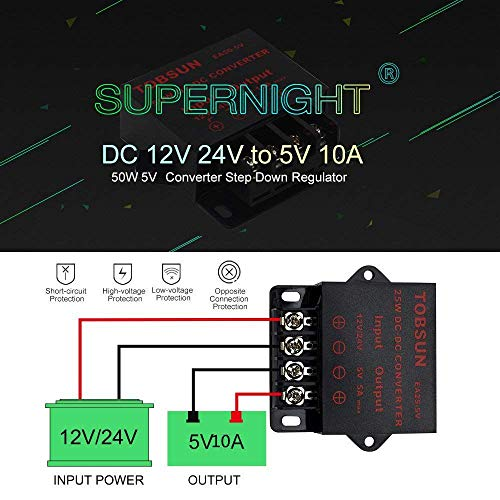 Convertidor 12V a 5V SUPERNIGHT Power Supply Transformer DC DC Step Down Voltage Reducer 12V~24V to DC 5V 10A 50W DC Buck Converter Adjustable for LED displays, Automotive, Electricity ect.