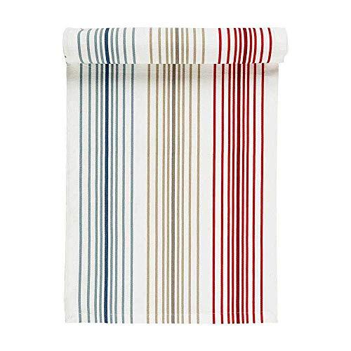 Linum Baumwolle Amina Tischläufer Streifen Blau 45x150 cm