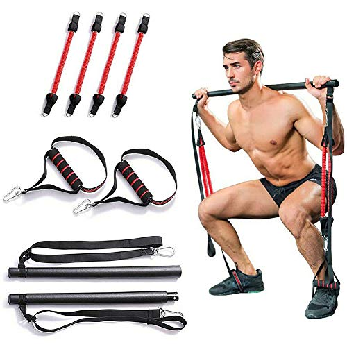 Portable Home Gym Pilates Bar System, Full Body Workout Equipment for Home, Office or Travel, Weightlifting and HIIT Interval Training Kit with 4 Resistance Bands