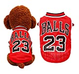 HFangWang Ropa para perros pequeños, camiseta de fútbol, camiseta de baloncesto, camiseta para cachorros, camiseta para perros, disfraz del campeonato del mundo, ropa para perros (XS rojo)
