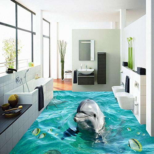 Nomte Pvc Autoadhesivo Impermeable 3D Baldosas Papel Pintado Moderno Lindo Delfín Murales Baño Sala De Estar Piso Pegatinas Decoración Del Hogar-350X256Cm
