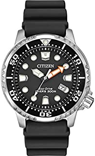 Citizen 西铁城 手表 promaster 潜水员男式太阳能手表黑色表盘 模拟显示 黑色橡胶表带 Bn0150-28E