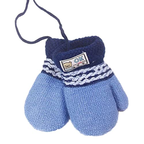 Kids Fleece Lined Knitted Mittens, Neutral Color Thick Winter Gloves with String for Toddler Boys Girls 1-3Y(Blue)