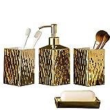 GalDal Gold Bathroom Accessories Set Ceramics,4 Pieces Bathroom Accessory Complete Sets Countertop, Includes Lotion Soap Dispenser Soap, Tumbler, Soap Dish,Tooth Brush Holder,Bathroom Decorations