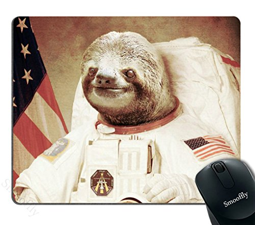 Smooffly Gaming Mouse Pad Custom,Funny Sloth Dress As a Astronaut Personality Mouse Pad Unique Design Mousepad