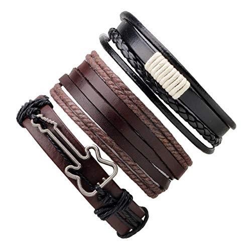 ZIYIZNL Lederen Armband 3,4,5Stks/Set Serie Boho Gypsy Hippie Punk Beige Koord Wikkel Zwart Bruin Lederen Houten Kralen Lagen Stack Armbanden Sets voor Man-in Bedel Armbanden van Sieraden